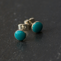 Turquoise Handcrafted Polymer Clay Bead Silver Plated Stud Earrings.