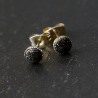 Dark Grey Sparkly Handcrafted Polymer Clay Bead Silver Plated Stud Earrings.