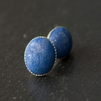 Pale Blue Sparkly Oval Handcrafted Polymer Clay Bead Silver Plated Stud Earring