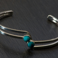 Silver Plated Bangle with Handcrafted Green Polymer Clay Beads