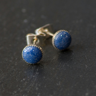 Blue Sparkly Handcrafted Polymer Clay Bead Silver Plated Stud Earrings