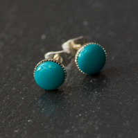 Green Bead Stud Earrings