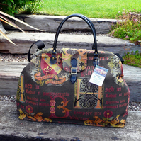 Tapestry Carpet Bag Mary Poppins Bag Weekend Overnight Bag Coat of Arms Bag