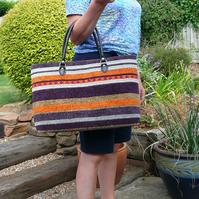 Tote Bag, Knitted Bag, Stripe Tote, Chenille Tote,Purple Orange Stripe Bag, Tote