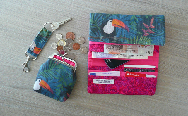 Toucan wallet gift set handbag accessories coin purse key ring Free UK postag