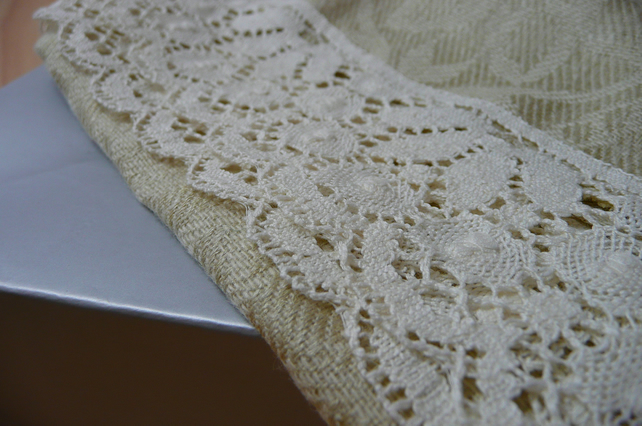 Ladies scarf cashmere silk linen scarf lace trim scarf cream scarf accessories