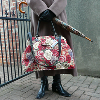 Carpet bag, Mary Poppins Bag, Rose Tapestry Bag, weekend bag, overnight bag
