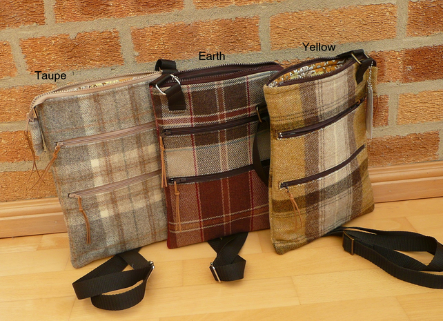 Croosbody bag zip top bag wool tweed bag messenger bag shoulder bag