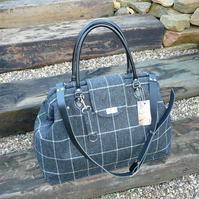 Grey Weekend bag wool tweed carpet bag large Mary Poppins bag