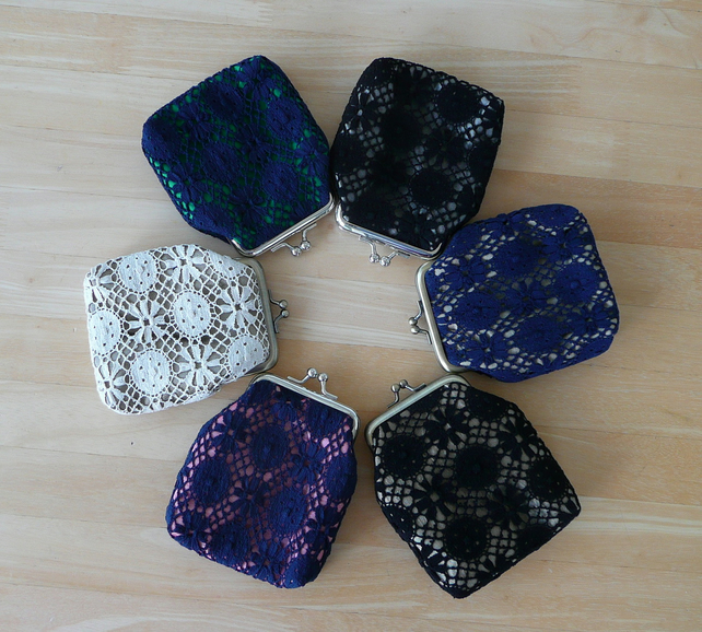 Lace & Silk coin purse bridesmaid gift ladies purse Nottingham lace keepsake