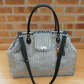 Silver grey velvet carpet bag overnight bag weekend bag travel bag hand luggage