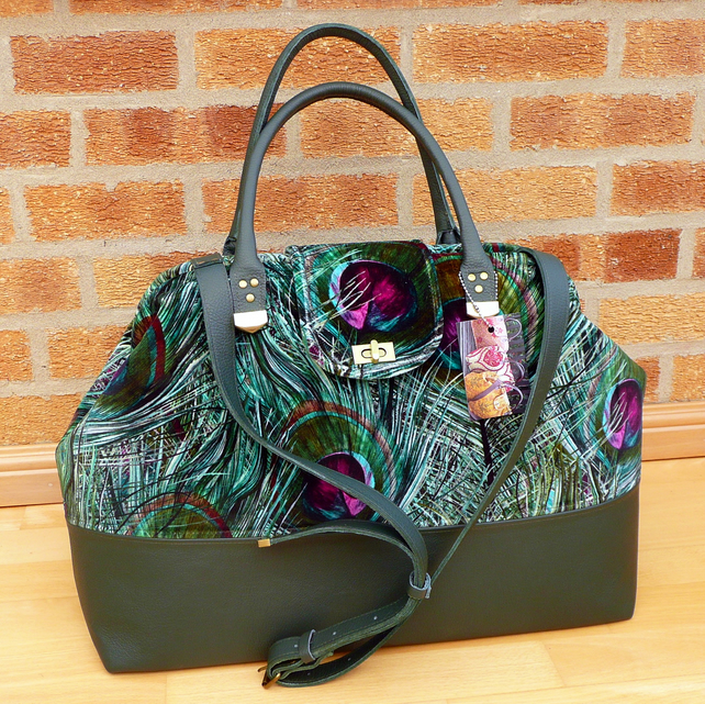 Mary Poppins style carpet bag peacock velvet & green leather weekend bag