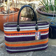 Knitting bag purple orange stripe chenille craft bag ON SALE