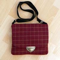 Maroon & gold tweed cross body messenger bag with antique brass fastener