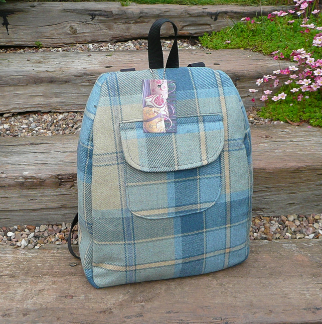 Blue Tweed Rucksack Backpack NOW REDUCED TO CLEAR SALE