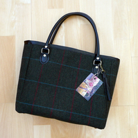 Handbag, green wool tweed bag with real leather handles and leather trim