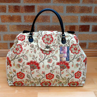 Mary Poppins style carpet bag orange floral tapestry bag hand luggage travel