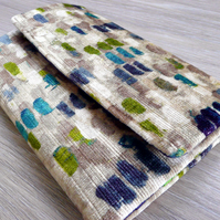 Ladies bi fold wallet in blue, green & beige printed velvet