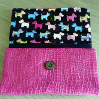 Wallet, ladies purse,  credit card holder, pink faux snake skin purse