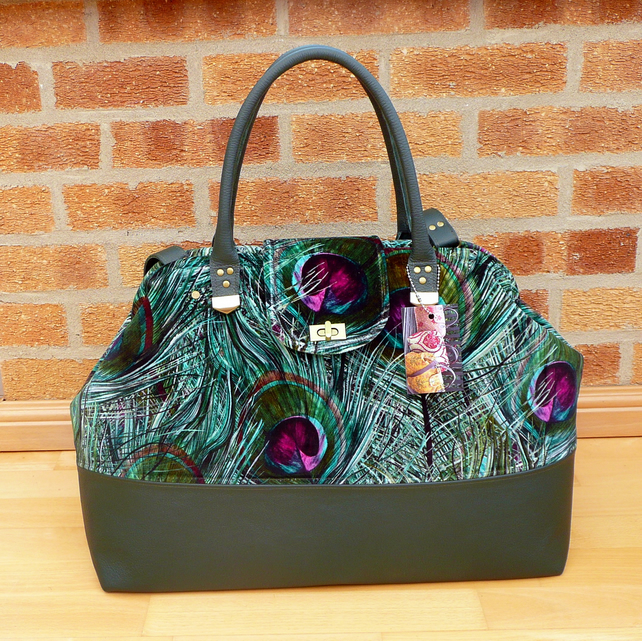 Mary Poppins style carpet bag peacock feather velvet & green leather weekend bag