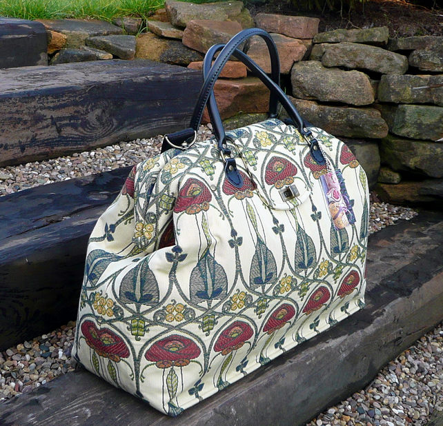 Carpet bag weekend bag Mary Poppins bag Rennie Mackintosh fabric bag