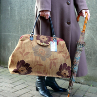 weekend carpet bag, floral Mary Poppins bag in gold and maroon floral fabric