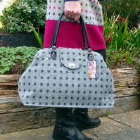 Overnight bag carpet bag in two tone grey spot wool tweed