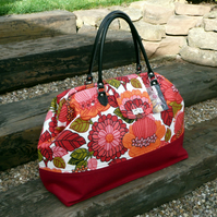 Pink floral carpet bag Mary Poppins style bag weekend travel bag
