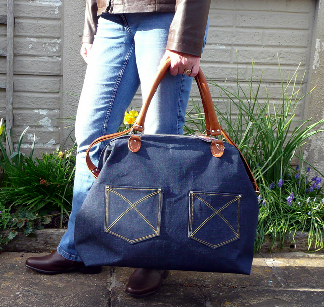 Weekend carpet bag, overnight bag, travel bag in blue denim and tan leather
