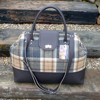 Weekend carpet bag, grey leather & grey & gold wool tweed bag, Mary Poppins bag