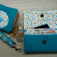 Purse wallet and keyring gift set coin purse tweed wallet ladies purse