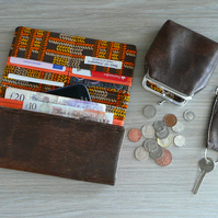 Purse, wallet, keyring, coin purse, gift set, brown faux reptile skin purse
