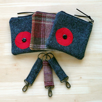 Zip top purse and key ring set poppy purse wool tweed coin purse