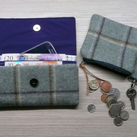 Wool tweed coin purse wallet key ring set blue green window pane check