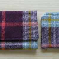 Maroon & gold Scottish wool tweed wallet and coin purse set