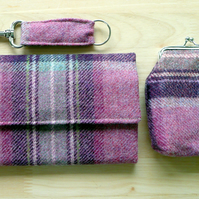 Pink & purple check wool tweed ladies wallet coin purse and key ring gift set