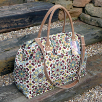 Carpet bag tapestry weekend bag with leather handles and shoulder strap