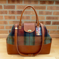 Weekend bag, carpet bag, tan leather &  burnt orange & green wool tweed