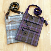 Tweed & vinyl dog walking bag purple zip bag taupe cross body bag