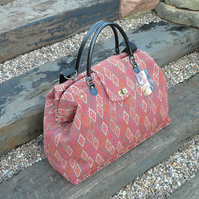 Carpet bag weekend bag overnight bag in terracotta tapestry fabric