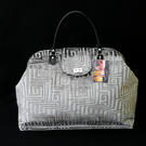 Silver grey velvet weekend carpet bag