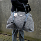 Herringbone tweed carpet bag , black & white tweed weekend bag