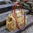 Mary Poppins style carpet bag, gold chenille weekend bag, overnight bag