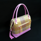 Ladies handbag, purple leather and wool tweed zip top wire framed handbag