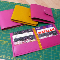 credit card wallet, sample prototype, leather wallet, pink wallet, yellow wallet