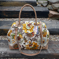 Carpet bag weekend bag hand luggage travel bag floral linen and real leather