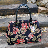 Mary Poppins bag, carpet bag, weekend bag, black red gold chenille bag