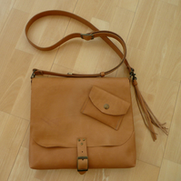 Veg tan leather cross body bag, messenger bag, shoulder bag
