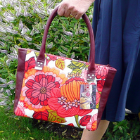 Pink floral handbag, vintage bark cloth & red leather bag, zip top closure