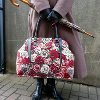 Rose tapestry carpet bag, Mary Poppins style weekend bag, overnight bag